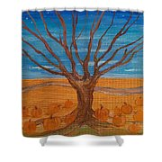 The Pumpkin Tree Shower Curtain by Dawn Vagts