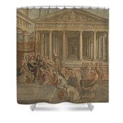 The Queen Of Sheba Before King Solomon Shower Curtain