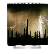The Quiet Southwest Desert Lightning Storm Shower Curtain
