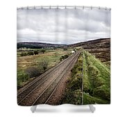 The Railroad To....in Scotland With Clouds Hanging Over The Mountains. Shower Curtain