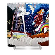 The Rainbow Family Moved Away Shower Curtain