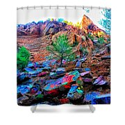The Rainbow Mountain Shower Curtain