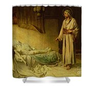 The Raising Of Jairus's Daughter Shower Curtain by George Percy Jacomb-Hood