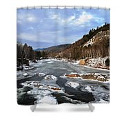 The Rapids In Winter Shower Curtain