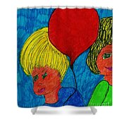 The Red Balloon  Shower Curtain
