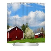 The Red Barn Shower Curtain