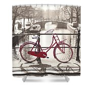 The Red Bicycle Of Amsterdam Shower Curtain