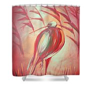 The Red Bird Shower Curtain