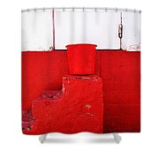 The Red Bucket Shower Curtain