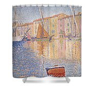 The Red Buoy Shower Curtain by Paul Signac