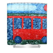 The Red Bus Shower Curtain