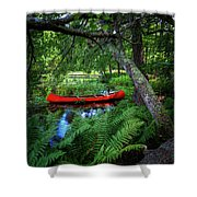The Red Canoe On The Lake Shower Curtain
