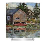 The Red Canoe Shower Curtain by Richard De Wolfe
