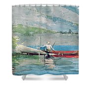 The Red Canoe Shower Curtain by Winslow Homer