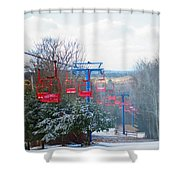 The Red Chairlift Shower Curtain