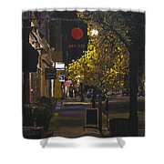 The Red Dot At Night Shower Curtain