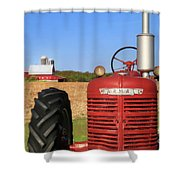 The Red Farmall Shower Curtain