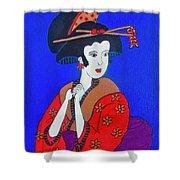 The Red Geisha Shower Curtain