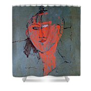The Red Head Shower Curtain by Amedeo Modigliani