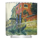 The Red House Shower Curtain by Claude Monet