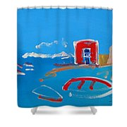 The Red House  La Casa Roja Shower Curtain