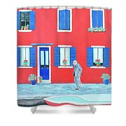 The Red House On The Island Of Burano Shower Curtain