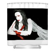 The Red Lie - Self Portrait Shower Curtain