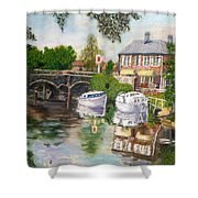 The Red Lion Inn By The Riverbank Shower Curtain