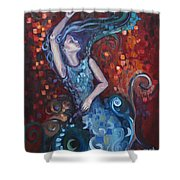 The Red Ocean Shower Curtain