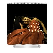The Red Party Dress Shower Curtain
