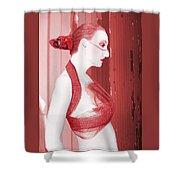 The Red Stripe - Self Portrait Shower Curtain