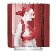 The Red Stripe - Self Portrait Shower Curtain