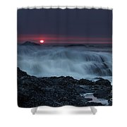 The Red Sun Shower Curtain