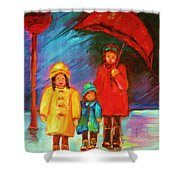 The Red Umbrella Shower Curtain