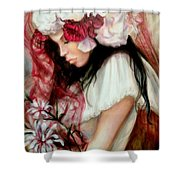 The Red Veil Shower Curtain