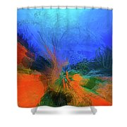 The Reef In Watercolor Abstract Shower Curtain