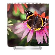 The Regal Red Admiral Shower Curtain
