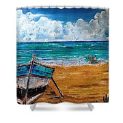 The Resting Boat And The Beach Holidays Shower Curtain