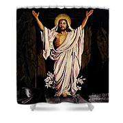 The Resurrection Shower Curtain by Milagros Palmieri
