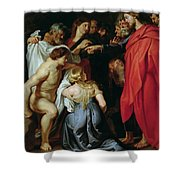 The Resurrection Of Lazarus Shower Curtain by Rubens