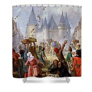 The Return Of Saint Louis Blanche Of Castille To Notre Dame Paris Shower Curtain