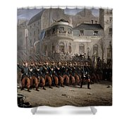 The Return Of The Troops To Paris From The Crimea Shower Curtain by Emmanuel Masse