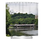 The River And Bridges At Burton On Trent Shower Curtain