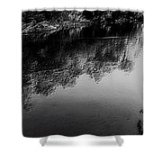 The River In Black And White Shower Curtain