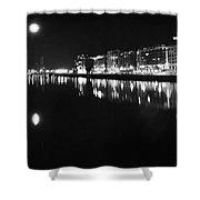 The River Liffey Night Romance Bw Shower Curtain
