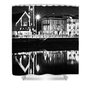 The River Liffey Reflections Bw Shower Curtain