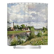 The River Oise Near Pontoise Shower Curtain by Camille Pissarro