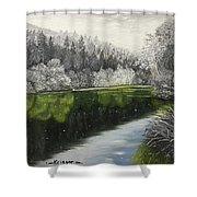 Grayscale The River Shower Curtain