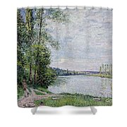 The Riverside Road From Veneux  Shower Curtain