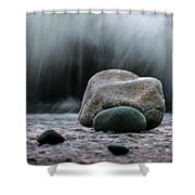 The Rocks At The End Of Hastie Road Shower Curtain